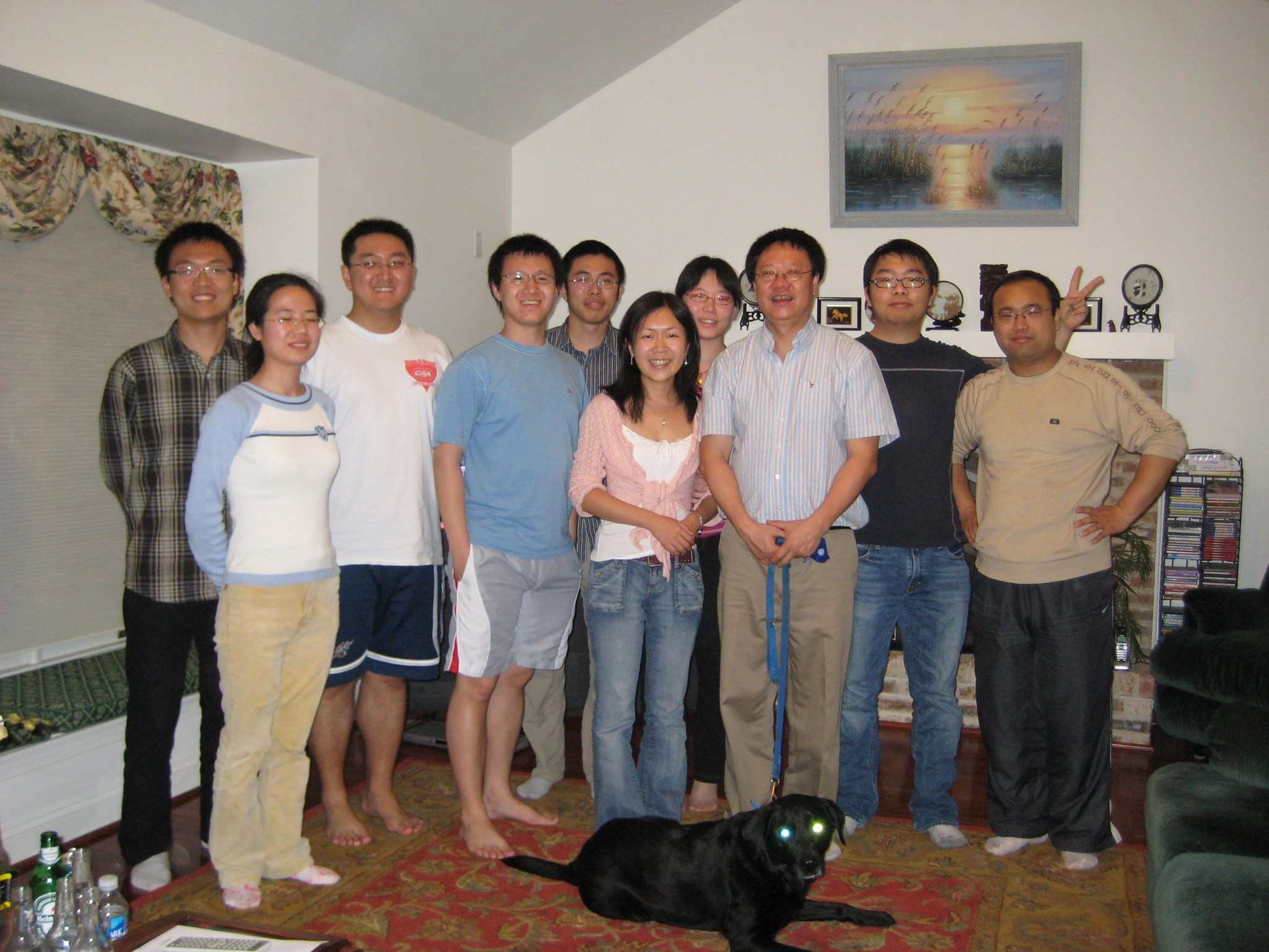 Dr. Li and students at his home