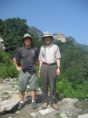 Wenbo and Qi-Man Shao hiking at Wild Great Wall