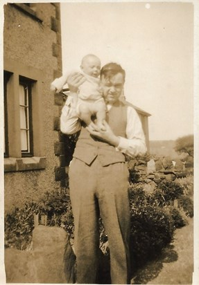 1933 Father at 6 7 months with his Father, Brow Head, Glusburn