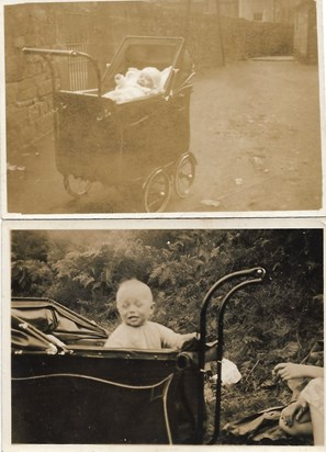 1933 possibly, Father in pram