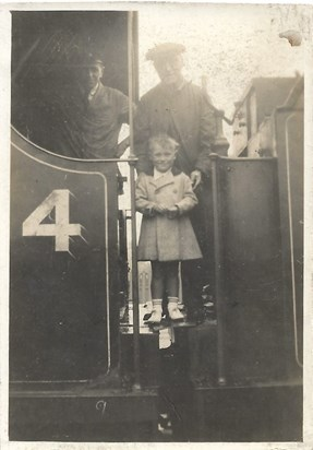 1938 Summer Father (aged 5) with Grandad Leake and his fireman, Cleethorpes Station