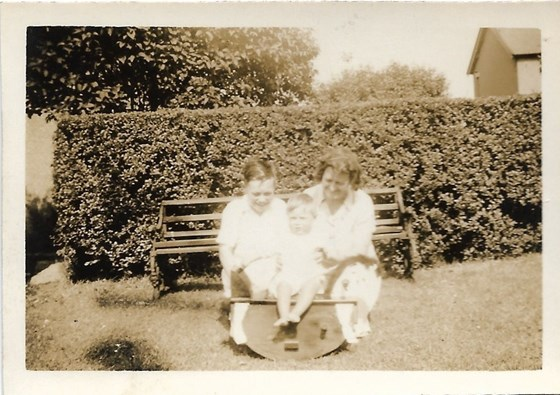 1945 Father with his Mother and Malcolm, Brow Head back garden, Glusburn