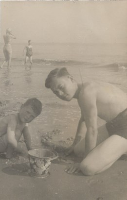 1948 Summer Father and Malcolm Cleethorpes