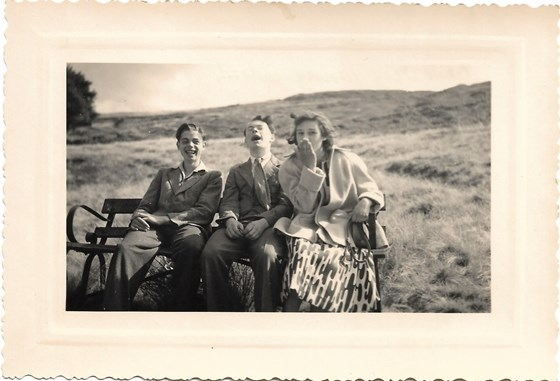 1949 Summer Father with his school friend Jim Monkhouse from Sutton and Cousin Monica, taken by Father's friend Andre