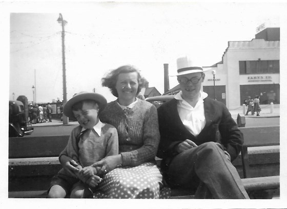 1950 Father with Malcolm and their Mother Morecambe