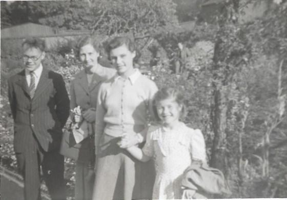 1950 Summer with Cousin Monica, visiting Uncle Ben, Auntie Edna and Cousin Janet at Quinton, Birmingham