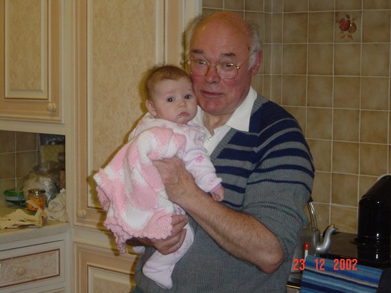 2002 12 Jemimah's first Christmas with her Grandad