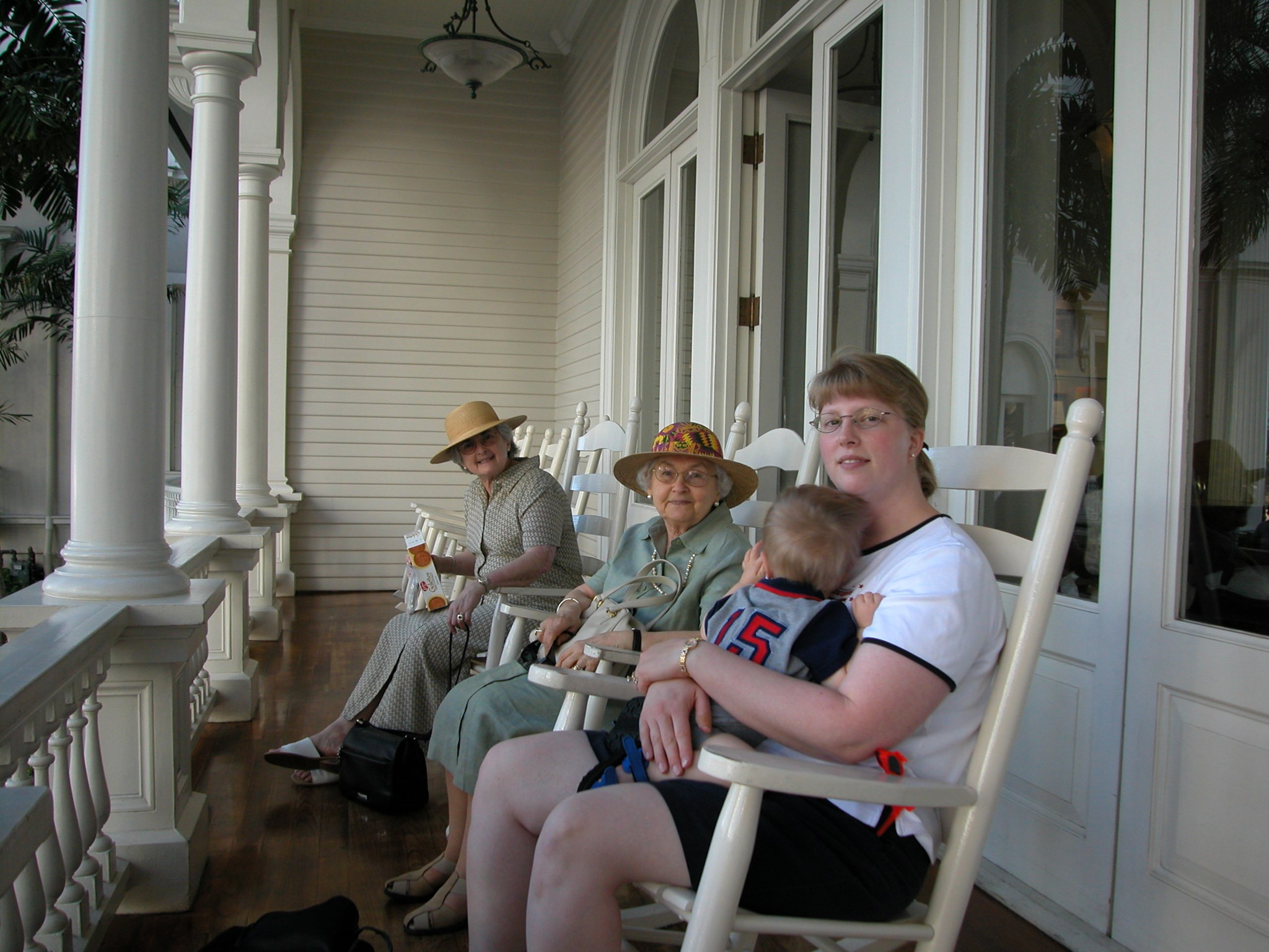 2003 January: Relaxing on the Terrace at the Moana Surfrider in Honolulu, Hawaii