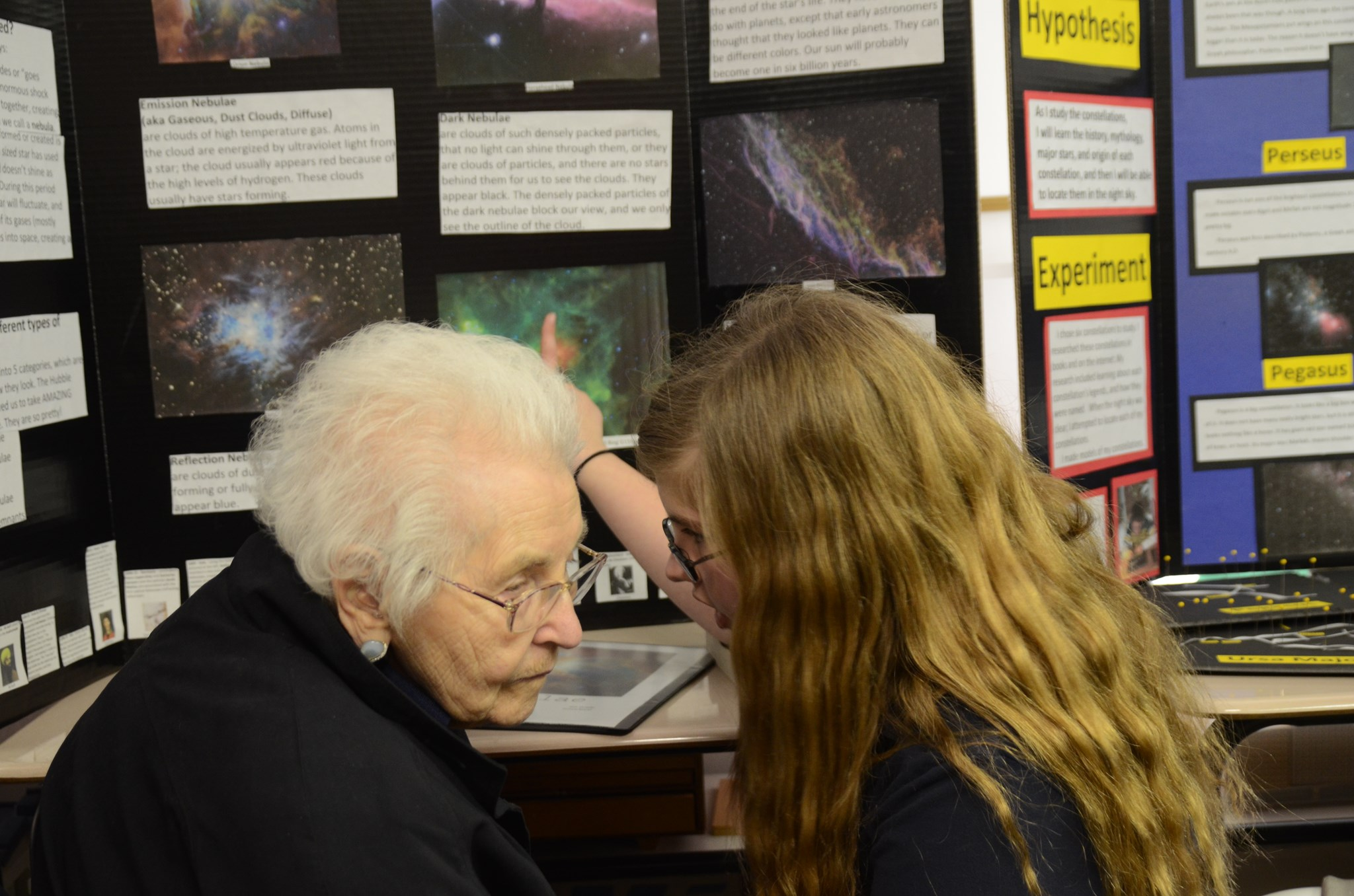 2012: Mrs. Justus talking to her Great Granddaughter (Julia) about her Science Fair project