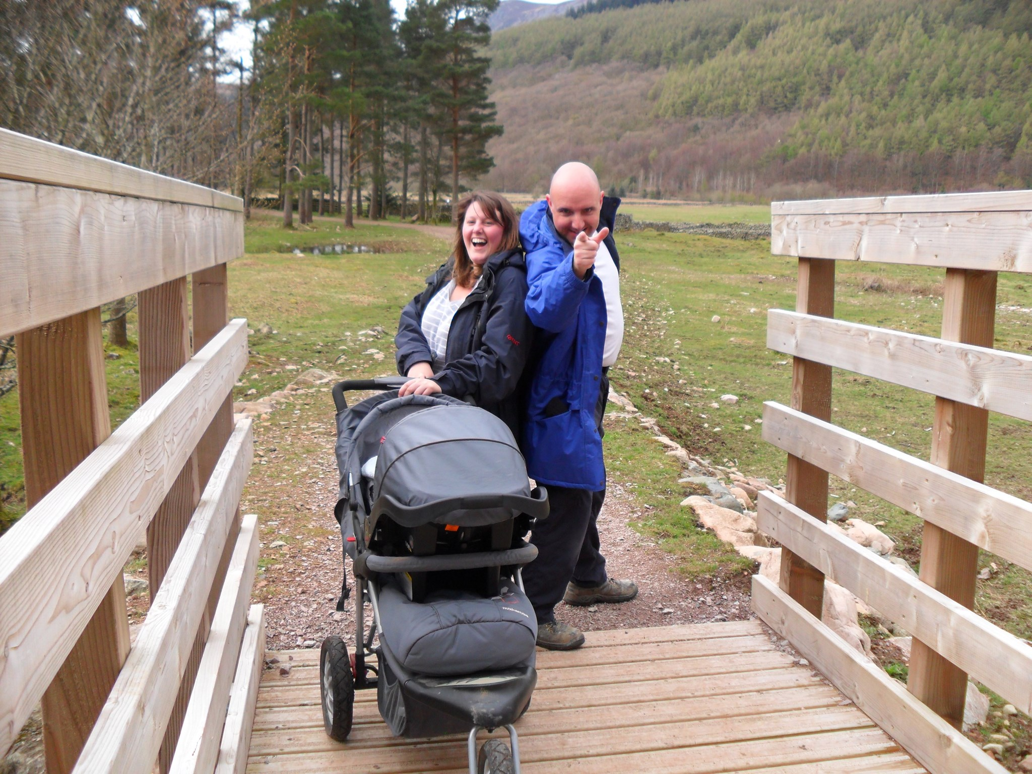Donna and Uncle Kenny on the bridge at Gillerthwaite