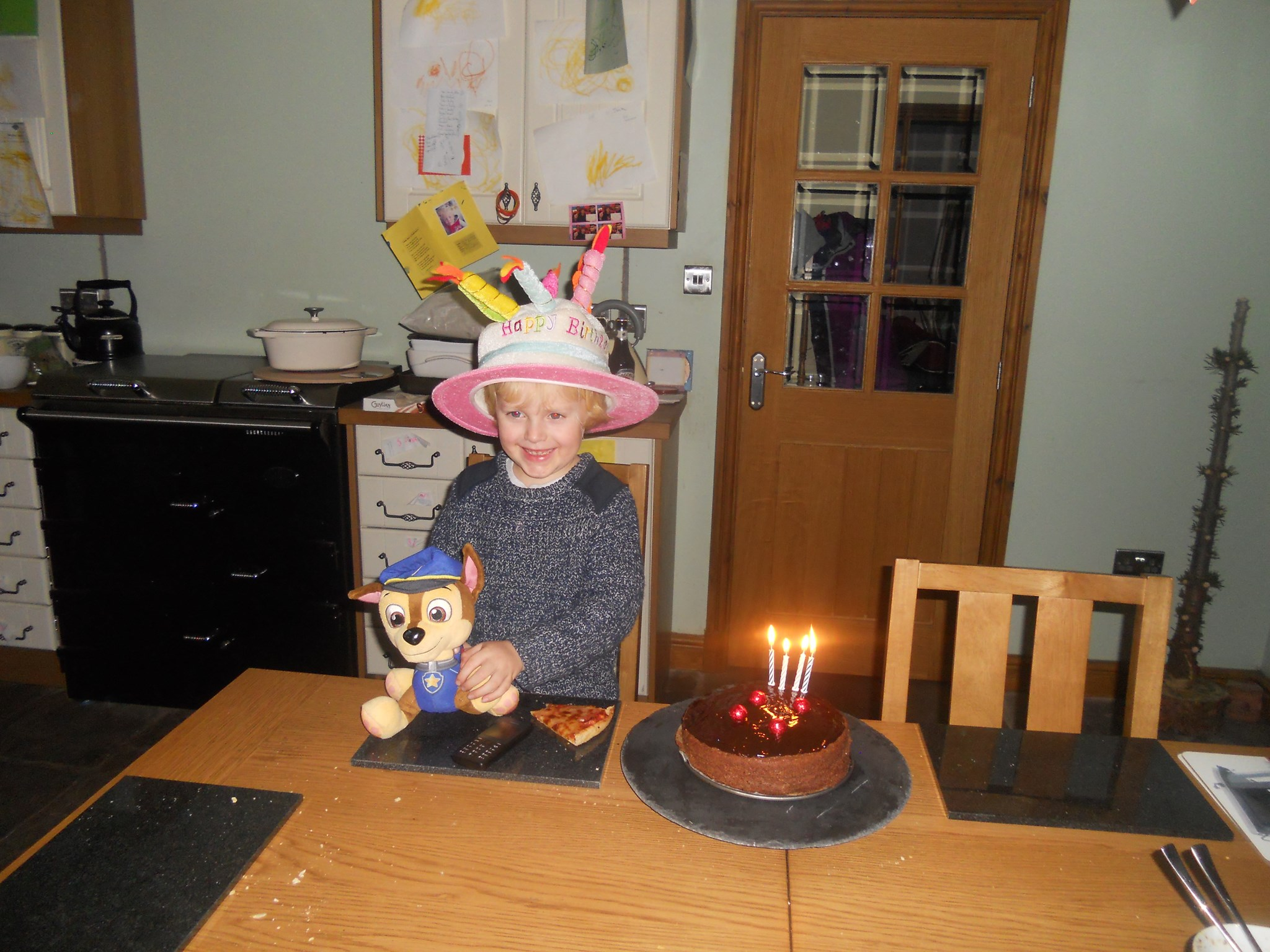 Jack on his 4th Birthday with Mummy's Birthday Hat on