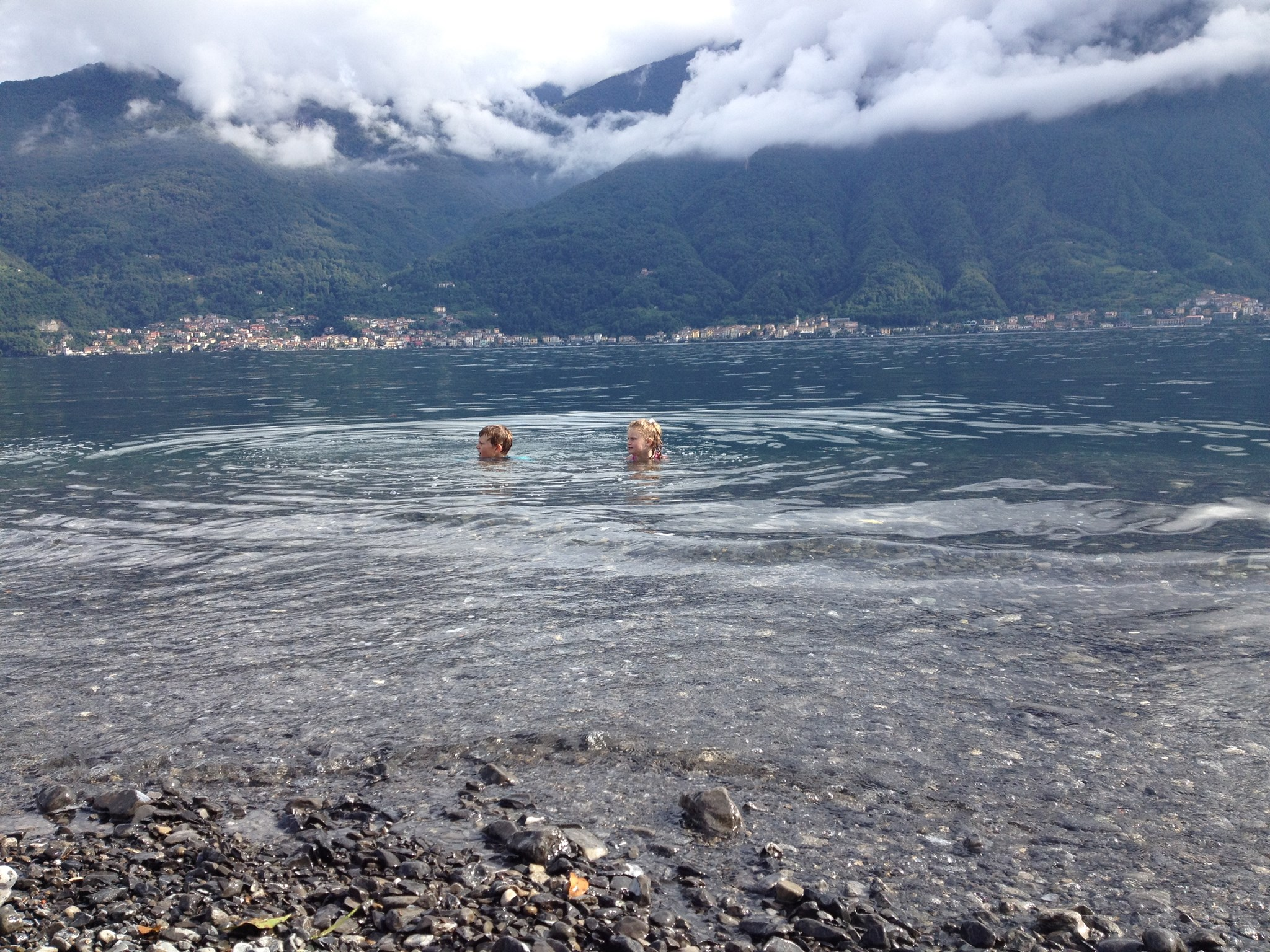 Swimming in Lake Como - Nr Lenno - August 2014.  Harry & Jess.  Happy (cold) time!
