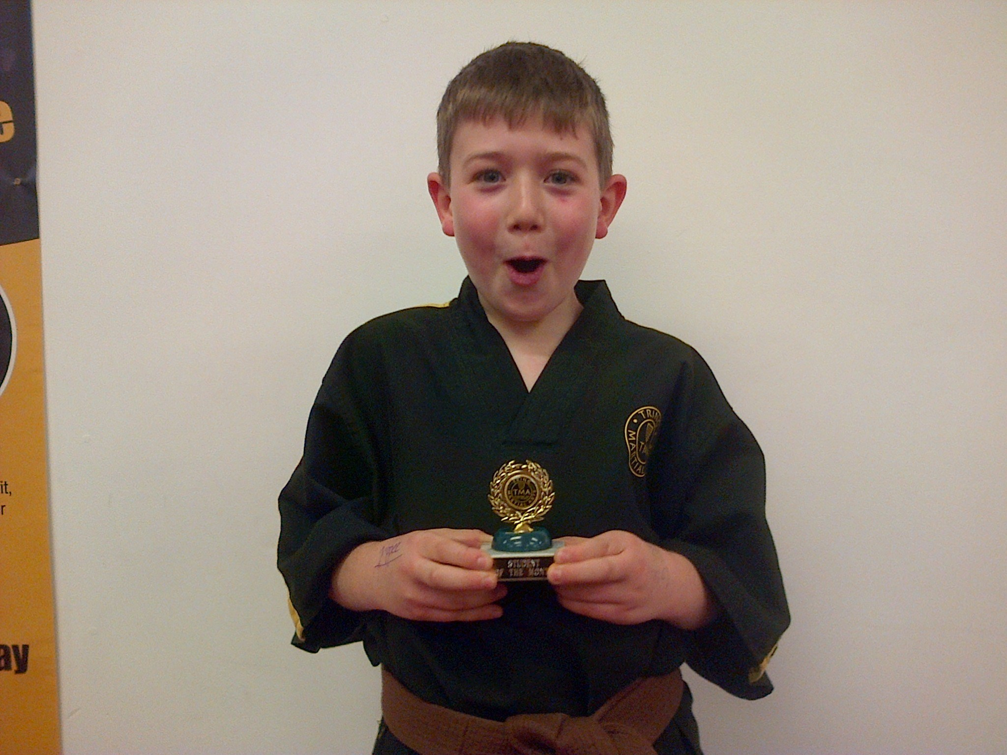 Ollie Gardiner receiving Student of the Month at Tring Martial Arts Academy