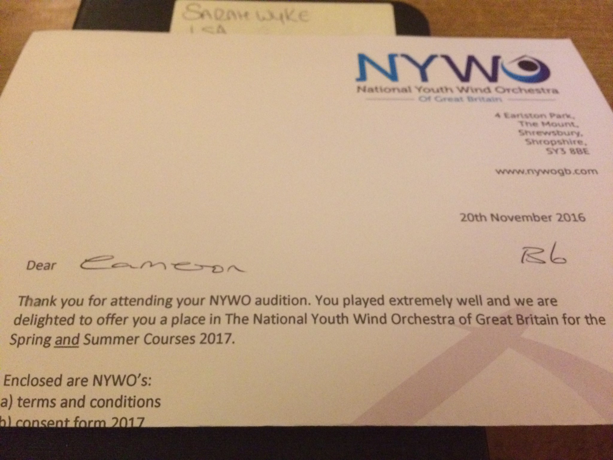 Dad he's got a place at national youth wind orchestra just like you said