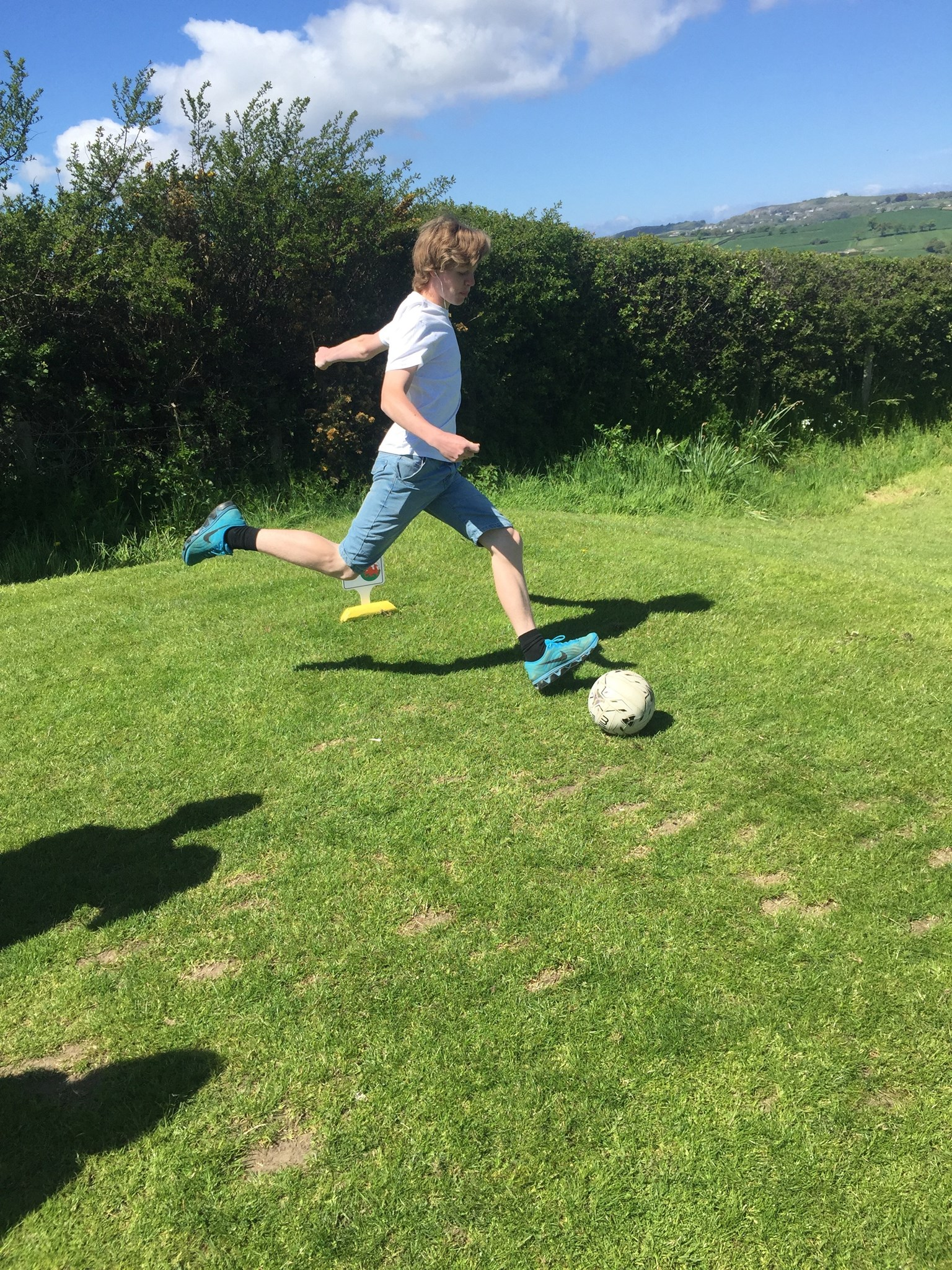 Harry playing foot golf - Betws Yn Rhos