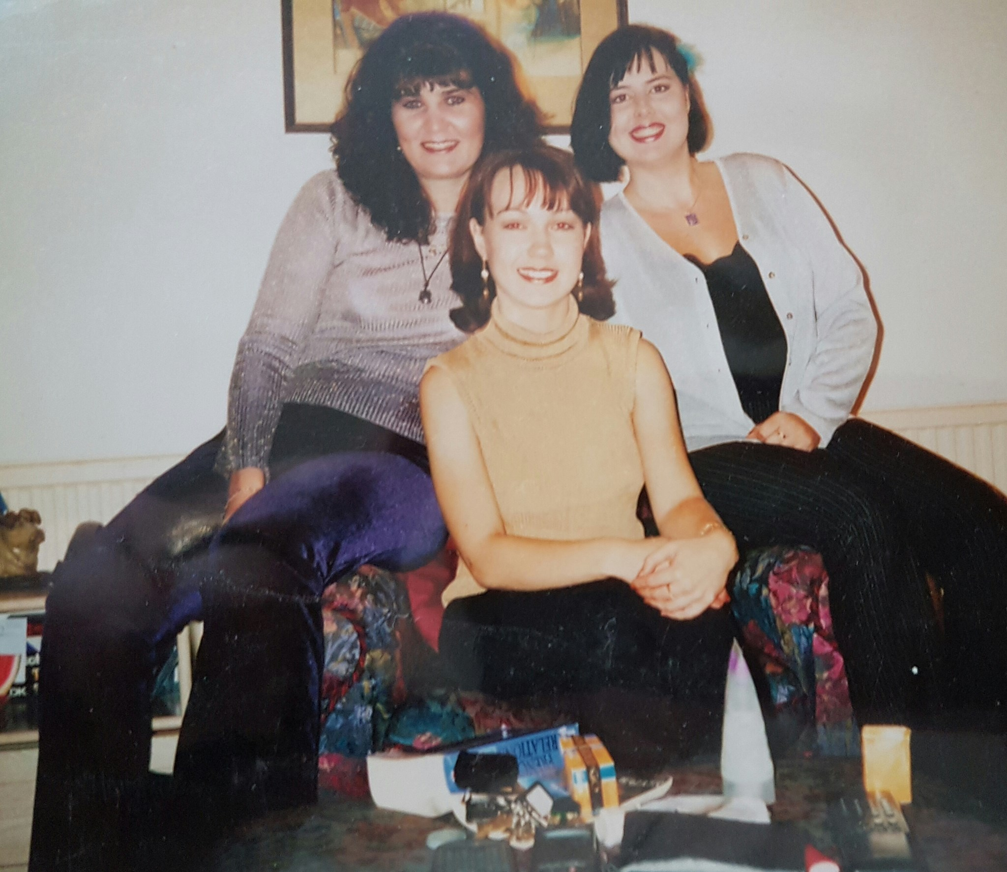 Getting ready for my hen night with Jane.  September 1997. We had a wonderful and suffered the next day!!