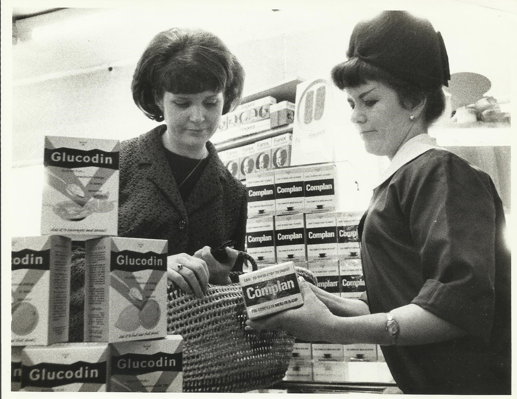 Mum  in an Advertisement for Complan taken in Parker's Chemist where she worked