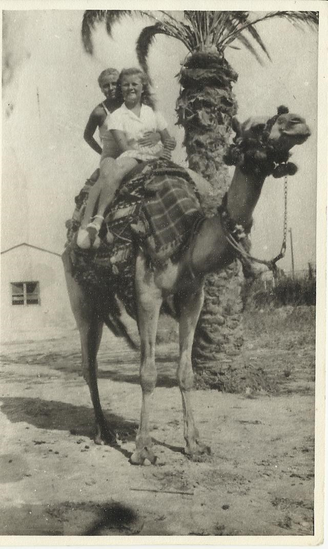 Mum taking a Camel ride with a friend