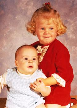 Julie at age 3 and Ian at 6 months