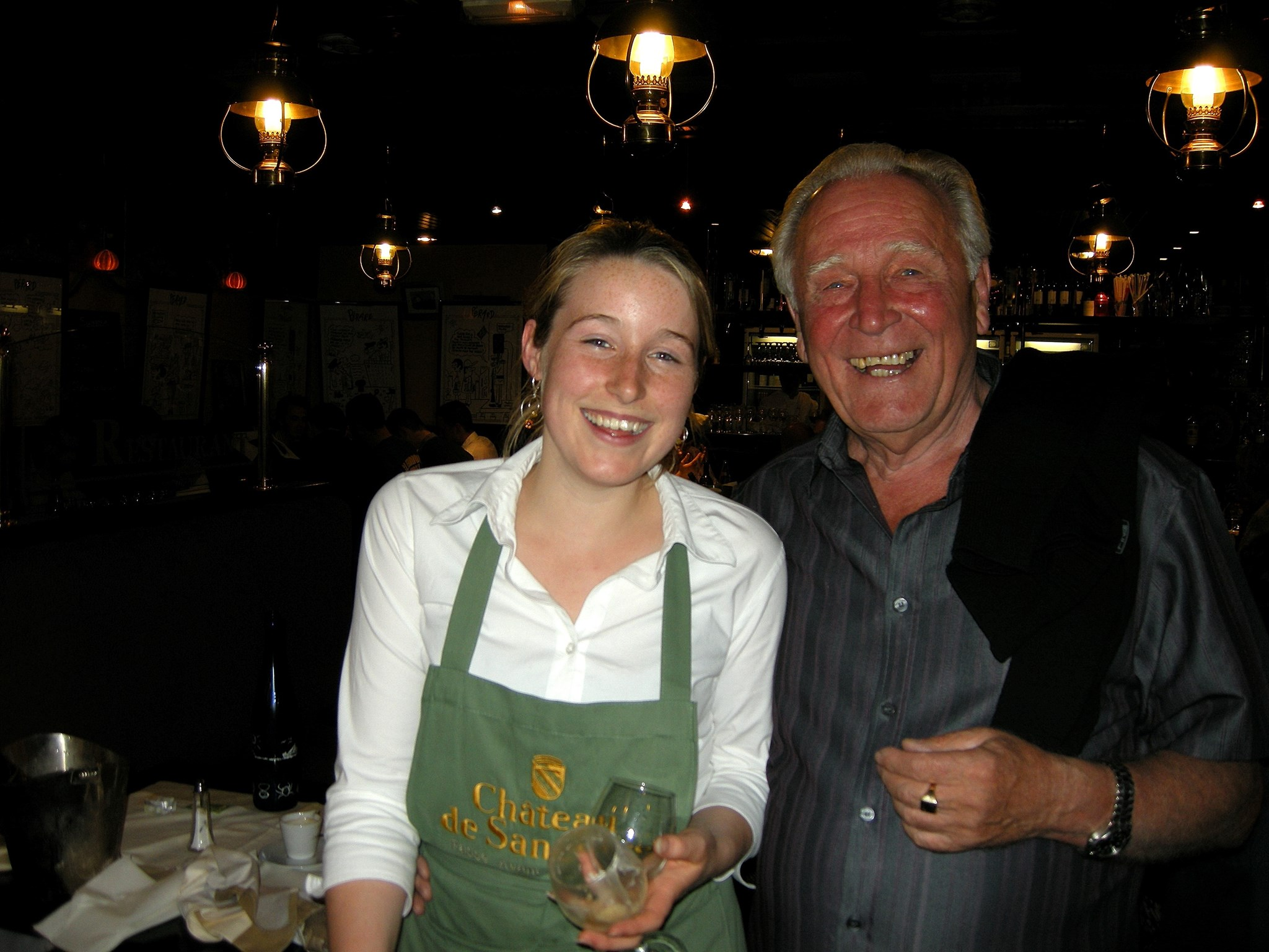 Hughie with his favourite waitress Alexandrine at Perard, Le Touquet 2008.
