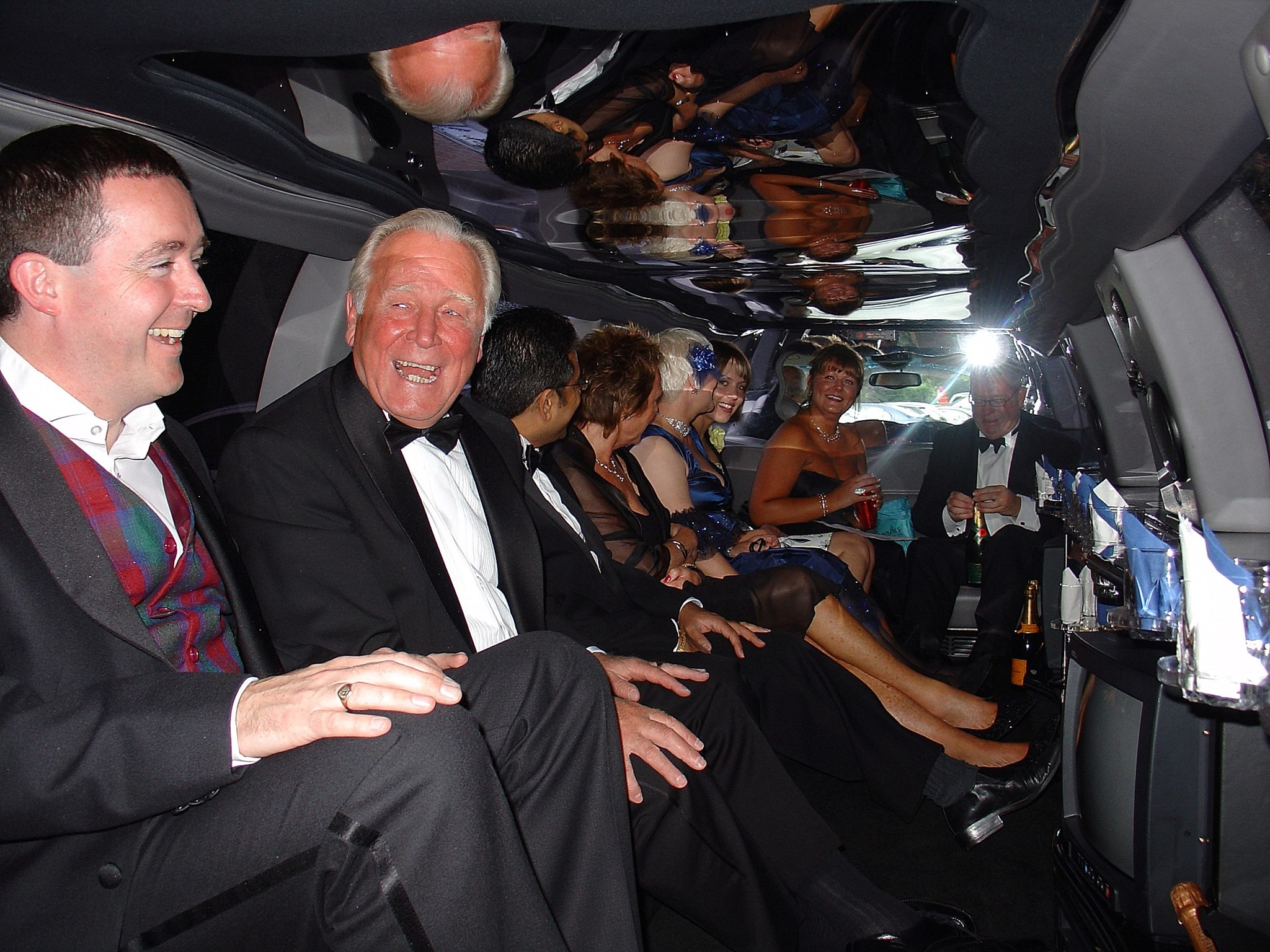 In a limo, on route to a charity function at Anthea Turner's house in 2004
