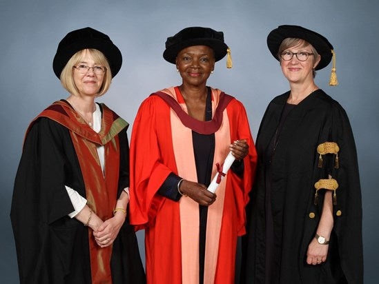 July 2018: Caroline (who acted as Orator) with Baroness Valerie Amos and Professor Judith Squires