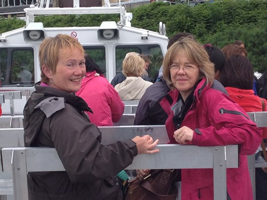 A lovely picture of Caroline with Chris on the Loch Ness boat