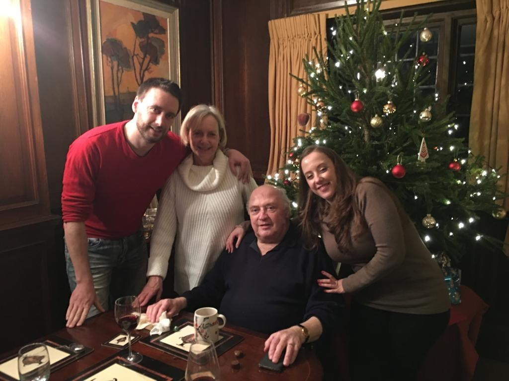 Paul at Christmas 2018 with his wife and children
