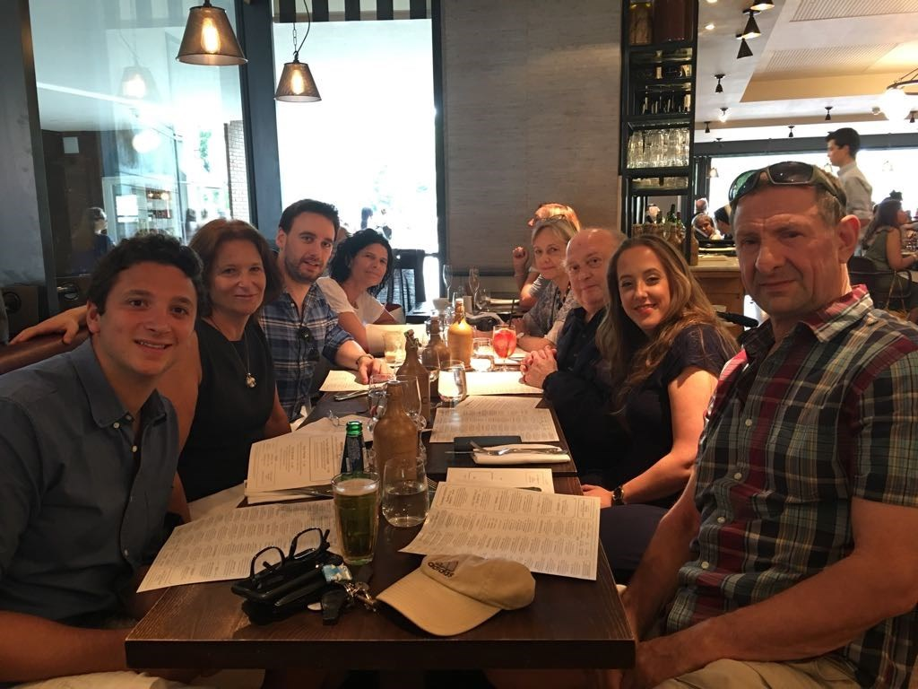 Paul at his Birthday celebration meal 2018 with his family, and his sister and her family
