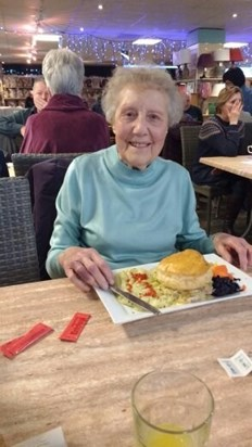 One of our wonderful  meals out  with our lovely Betty
