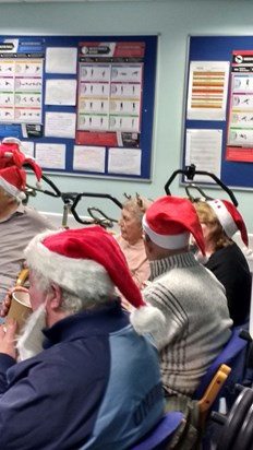 Christmas at the leg club, Betty rocking a pair of antlers ??
