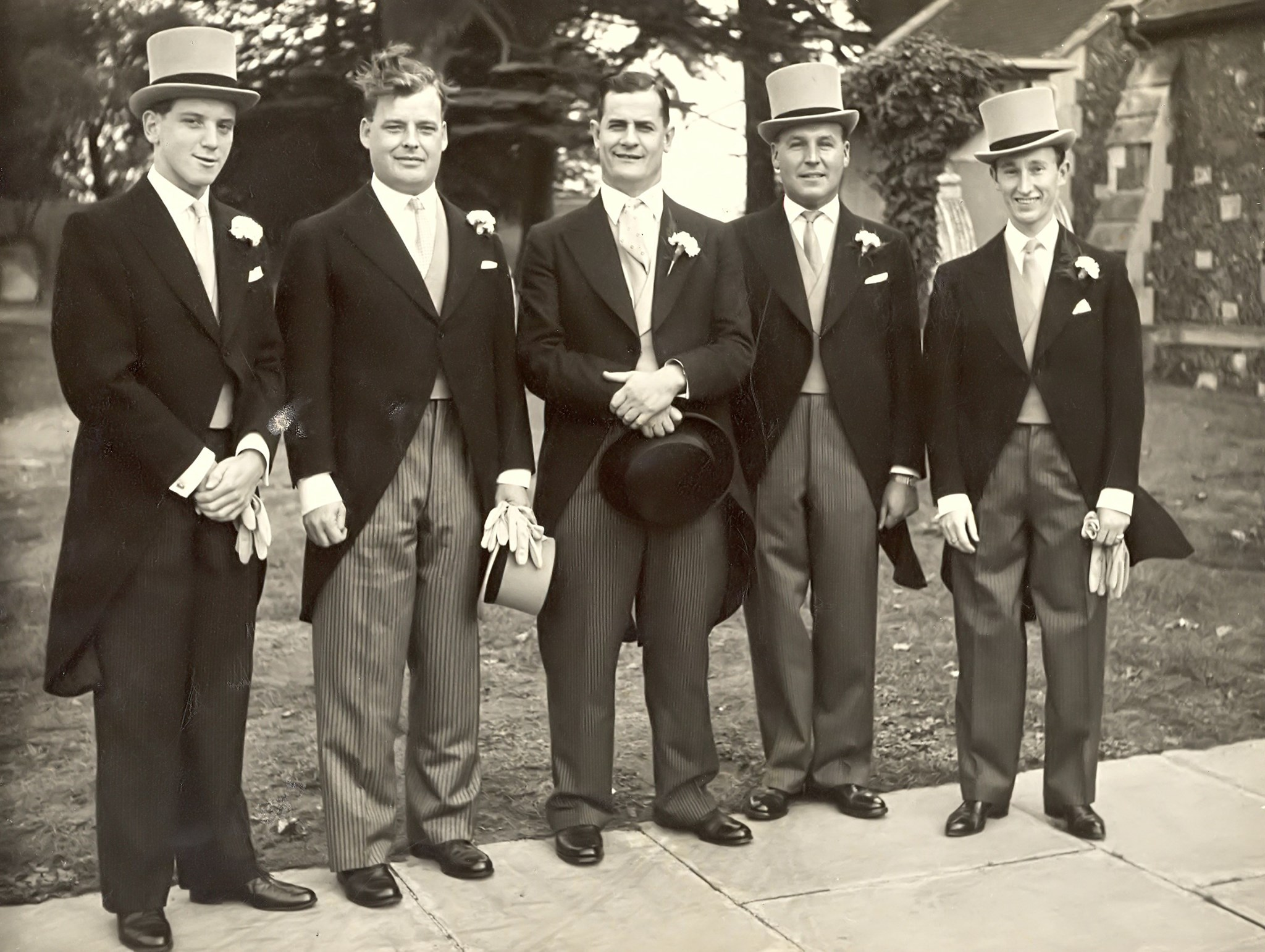 Dad, the best man and the ushers, Butler, Jim Gosney and Baby David