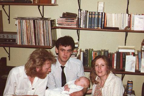 Lorcan, Tim and Romie with baby Megan 1984