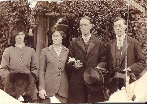 My Grandparents, Mom Mom and Dad when they got married in 1915,Auntie Olive Uncle Reg outside of pic
