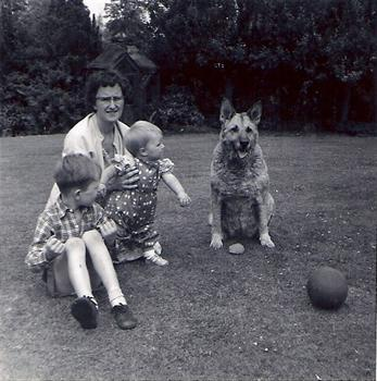 Mom with me Nephew Neal and Lassis the family dog taken in Eric/Grandparents back garden
