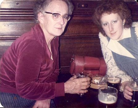 Me with Mom 4 weeks off expecting Damo Mom 1st Grandchild. It's milk stout btw for us both lol
