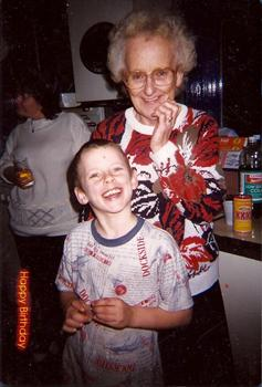 Declan birthday with Gran at home in 1997