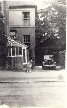 20a Manor Road Sutton Cold Field the family home with Lassie the family dog aprox 1956