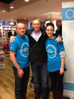 Nick at his Book signing with support from Roy Castle team