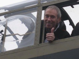 Nick in the cockpit of a Lancaster Bomber