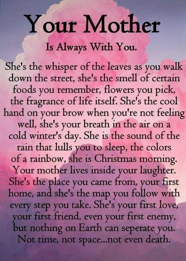 Your beloved mum is always with you. She's lives on in you.