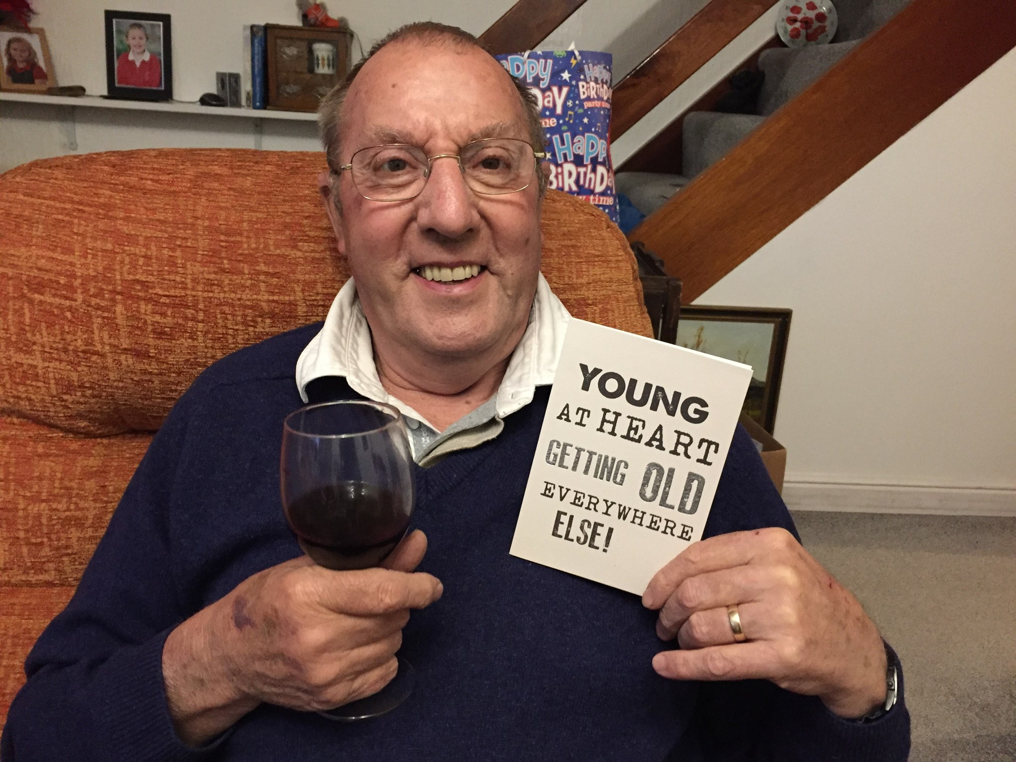 I took this picture on David's 76th Birthday this year! He even shared a glass of his birthday wine!