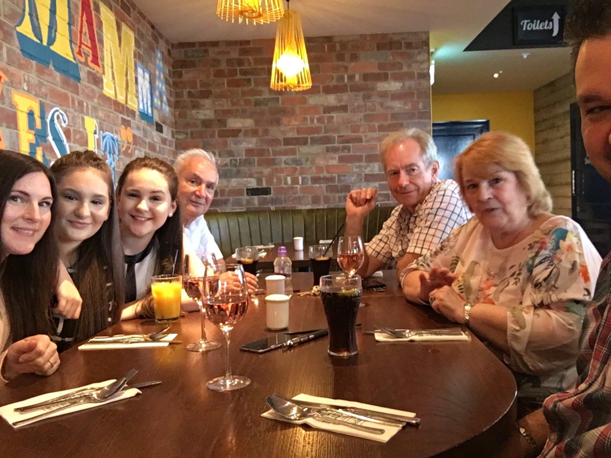 At a meal for Louise's birthday.  May 2017