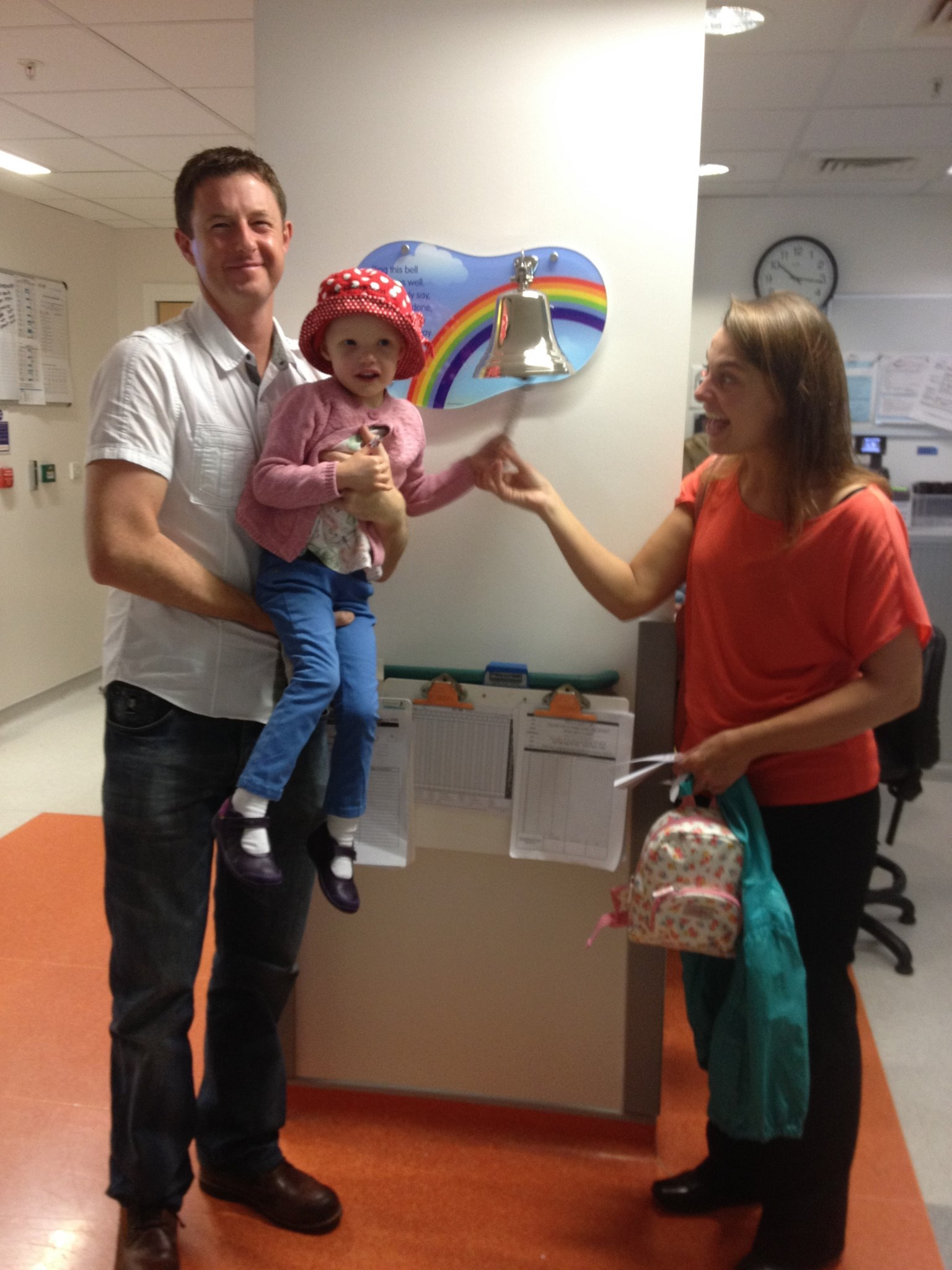 Ringing the bell - end of first cycle of Chemo on the ward.