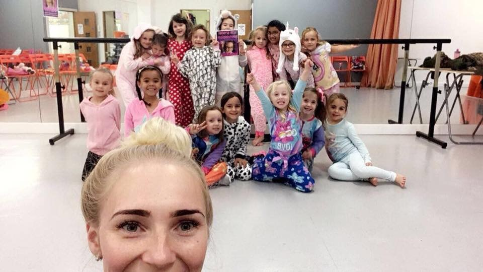 Gracie's dance class on Onesie Day!