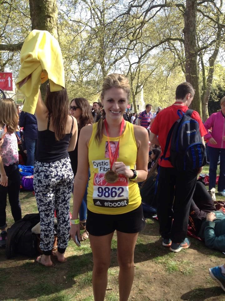 Me at the end of this year's London Marathon for CF and Hannah x