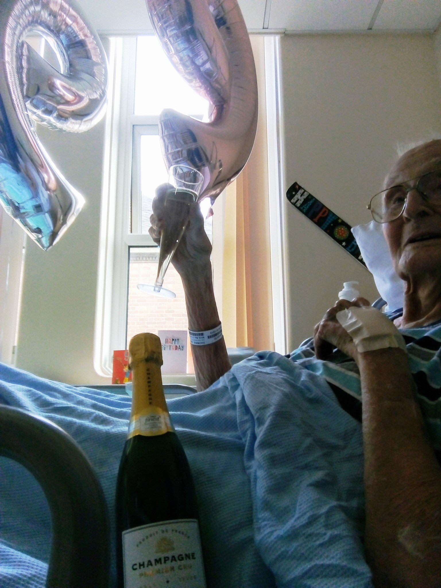 Champers at 99. Doc said it was fine but our contingency plan was a second hidden bottle!