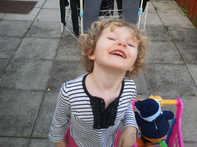 Lottie-May smiling for a Tenner. :-) For her Uncle Daniel. x