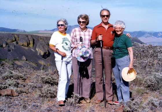 Mom, Sheri's folks, and seldom home Jo on the rock pile