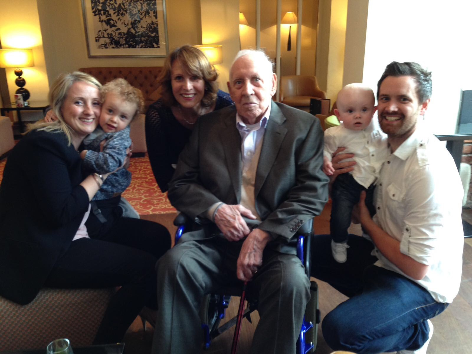 4 Generations together Celebrating Grandads 91st Birthday!